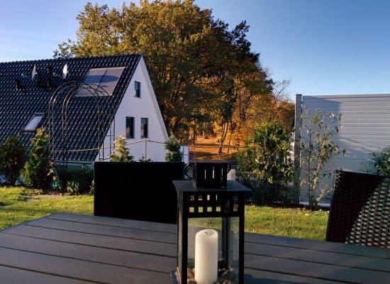 Ferienhaus Fleesensee Terrasse Herbst
